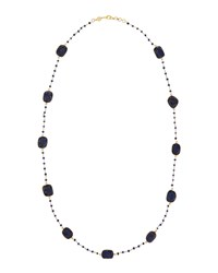 Bettina Duncan Long 14K Gold Filled Lapis Station Necklace Women's
