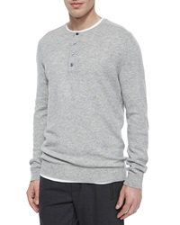 Vince Cashmere Long Sleeve Henley Tee Light Gray