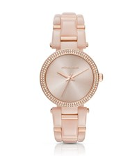 Michael Kors Delray Pave Rose Gold Tone And Acetate Watch