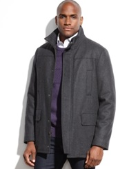 Kenneth Cole Wool Blend Stand Collar Walking Coat Charcoal