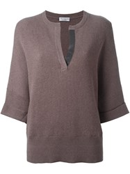 Brunello Cucinelli Split Neck Knitted Sweater Nude And Neutrals