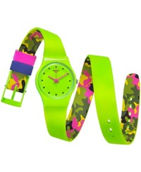Swatch Women's Swiss Camovert Green And Camouflage Double Sided Strap Watch 25Mm Lg128