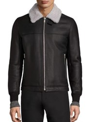 Theory Dobbis Essence Shearling Trimmed Leather Jacket Black White