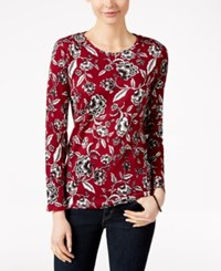 Charter Club Floral Print Long Sleeve Top Only At Macy's Cranberry Red Combo
