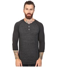 Alternative Apparel 3 4 Raglan Henley Eco Black Eco True Black Men's Long Sleeve Pullover