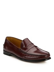 Saks Fifth Avenue College Leather Penny Loafers Bordeaux Navy
