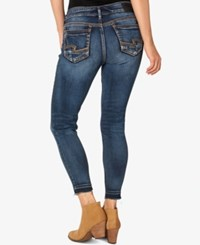 Silver Jeans Co. Suki Raw Hem Ankle Skinny Dark Blue Wash Indigo