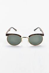 Urban Outfitters Gold Trim Tortoise Round Sunglasses Brown
