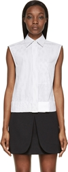 Paco Rabanne White And Black Pinstripe Poplin Sleeveless Shirt