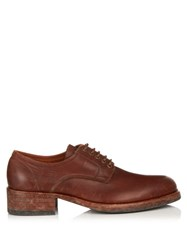 Maison Martin Margiela Tarnished Lace Up Leather Derby Shoes Brown