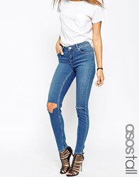 Asos Tall Lisbon Skinny Midrise Jeans In Blessing Mid Stonewash With Rips Blue