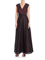 Kay Unger Embellished V Neck Lace Gown Wine