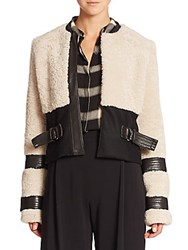 A.L.C. Stager Leather And Shearling Jacket White Black