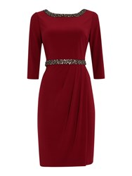 Ariella Evening Dress With Embellished Cuff Burgundy