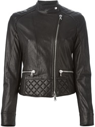 Eleventy Quilted Detail Biker Jacket Black