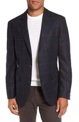 Flynt Men's Big And Tall Regular Fit Windowpane Plaid Wool Sport Coat Blue