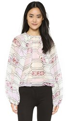 Giambattista Valli Long Sleeve Blouse Ivory Pink