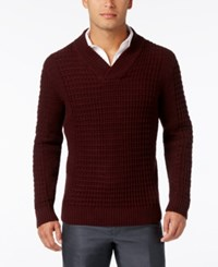Alfani Men's Big And Tall Textured Shawl Collar Sweater Only At Macy's Port Heather
