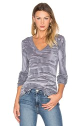 Enza Costa Cashmere Cuffed V Neck Top Gray