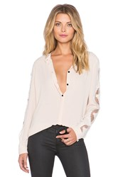 The Kooples Crepe Shirt With Lace Inserts On The Sleeves And Shoulders Ivory