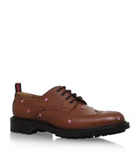 Gucci Flower Derby Shoes Male Tan