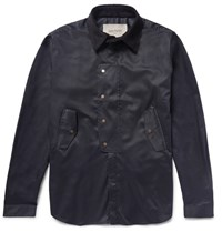 Casely Hayford Caely Cheterton Corduroy Trimmed Cotton Twill Hirt Jacket Midnight Blue