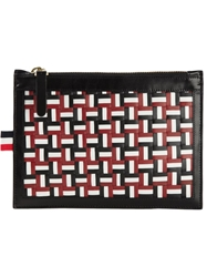 Thom Browne Woven Zipped Clutch Black