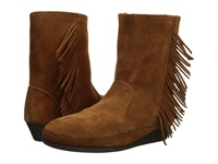 Minnetonka Side Fringe Wedge Boot Brown Suede Women's Boots