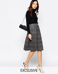 Helene Berman Black And Silver Stripe Skater Skirt Black