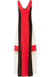 Zeus Dione Pythian Color Block Silk Crepe De Chine Maxi Dress Red
