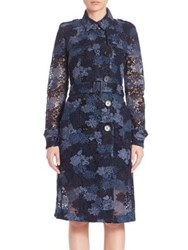 Burberry Dartford Double Breasted Lace Trench Coat Ink Blue