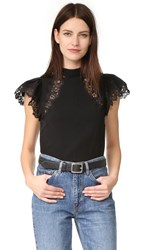 Rebecca Taylor Short Sleeve Top Black