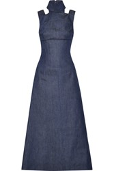 Emilia Wickstead Mary Cutout Denim Maxi Dress Indigo