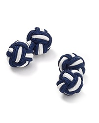 The Men's Store At Bloomingdale's Round Knot Cufflinks Navy White