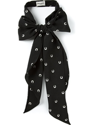 Saint Laurent Horse Shoe Print Bow Black
