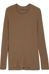 Enza Costa Ribbed Knit Cashmere Sweater Brown