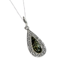 Goldmajor Green Amber And Sterling Silver Teardrop Pendant Silver Green