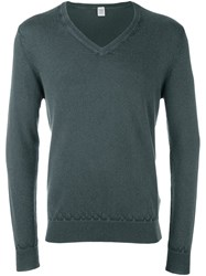 Eleventy V Neck Jumper Green