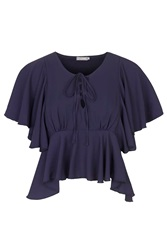 Lace Up Top By Love Navy Blue