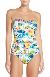 Tommy Bahama Women's Bandeau One Piece Swimsuit White Ground Multi