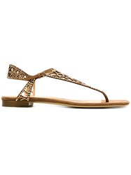 Sergio Rossi Cut Out Embellished Flat Sandals Nude And Neutrals
