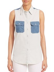 Rag And Bone Utility Sleeveless Patch Shirt Indigo