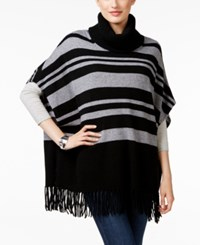 Charter Club Cashmere Striped Fringe Poncho Only At Macy's Classic Black