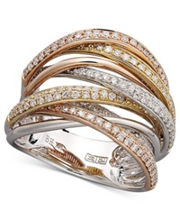 Effy Collection Trio By Effy Diamond Diamond Overlap 3 4 Ct. T.W. In 14K White Gold And Rose Gold Yellow White Rose