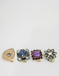 New Look Chunky Cocktail Ring Pack Multi Colour