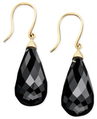 Effy Collection Gemma By Effy Faceted Onyx Teardrop In 14K Gold