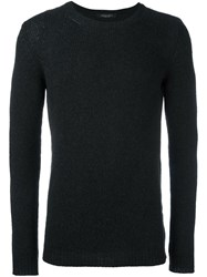 Roberto Collina Cable Knit Crew Neck Jumper Black