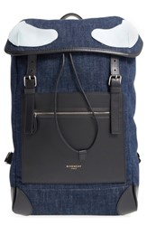 Men's Givenchy 'Rider' Denim And Leather Backpack Blue Indigo