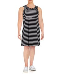 Marc New York Striped Knit Dress Black Grey
