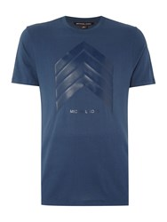 Michael Kors Slim Fit Chevron Logo Printed T Shirt Blue
